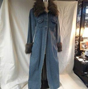 Vintage Fur Trim Denim Duster Coat